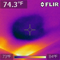No stains or indications of leaking were found on this kitchen ceiling.  The second story bathtub has just begun to leak.  Thermal Imaging is offered on every Home Inspection